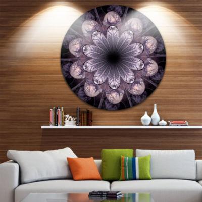 Design Art Dark Pink Fractal Flower Pattern Abstract Round Circle Metal Wall Decor
