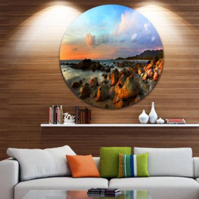 Design Art Colorful Tropical Sunset Disc Photography Circle Metal Wall Art