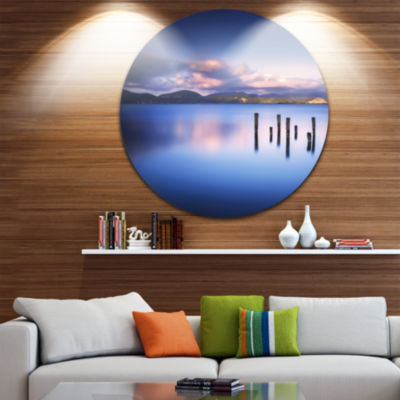 Design Art Colorful Clouds at Sunset Seascape Circle Metal Wall Art