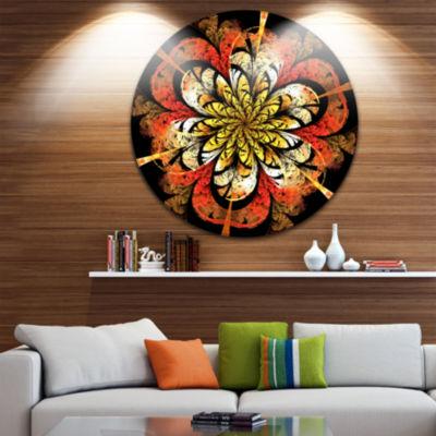 Design Art Dark Yellow Orange Fractal Flower Abstract Round Circle Metal Wall Decor Panel