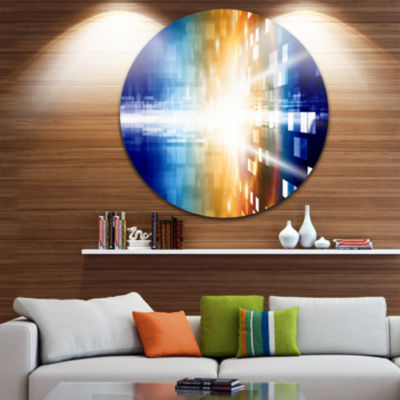 Design Art Fire on Blue Disc Abstract Circle MetalWall Art