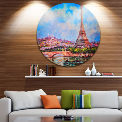 Design Art Colorful Eiffel and Sacre Coeur Disc Photography Circle Metal Wall Art
