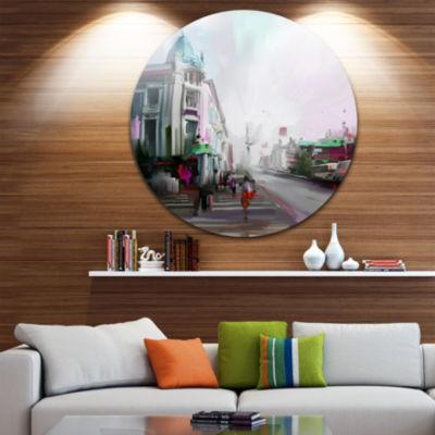 Design Art City Street Disc Cityscape Metal Artwork Print