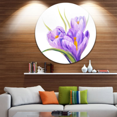 Design Art Crocuses in White Background Floral Circle Metal Wall Art