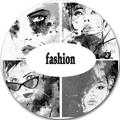Design Art Collage of Girl Faces Disc Abstract Portrait Circle Metal Wall Art