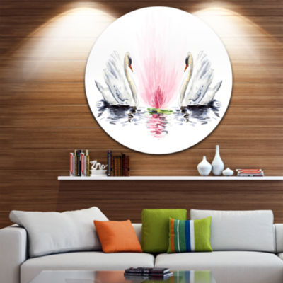 Design Art Floating Swans on White Background DiscAnimal Circle Metal Wall Art