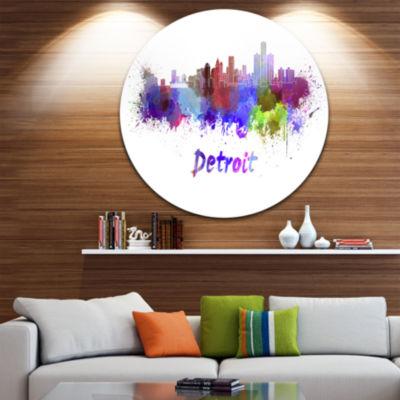 Design Art Detroit Skyline Disc Cityscape Metal Artwork Print
