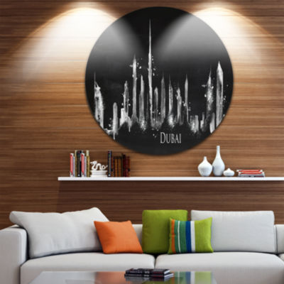 Design Art Dubai Dark Silhouette Disc Cityscape Painting Circle Metal Wall Art