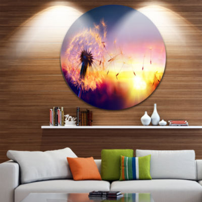 Design Art Dandelion at Sunset Freedom to Wish Abstract Round Circle Metal Wall Decor Panel