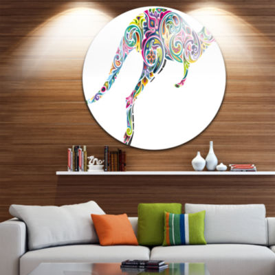 Design Art Floral Kangaroo Running Disc Animal Circle Metal Wall Art