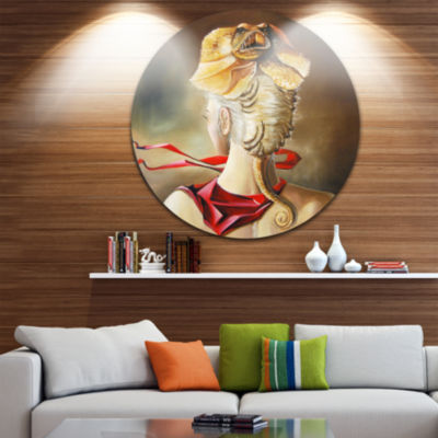Design Art Girl with Surreal Hat Disc Abstract Portrait Circle Metal Wall Art