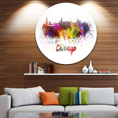 Design Art Chicago Skyline Disc Large Cityscape Circle Metal Wall Art