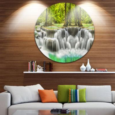Design Art Erawan Waterfall Kanchanaburi ProvinceDisc Circle Metal Wall Art