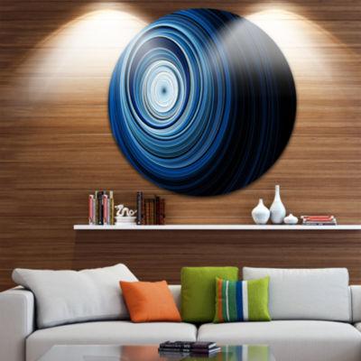 Design Art Endless Tunnel Light Blue Ripples DiscAbstract Circle Metal Wall Art