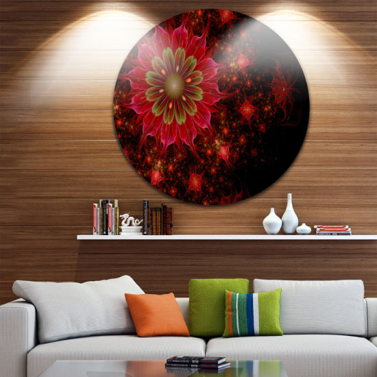 Design Art Dark Red and Light Green Fractal Flowers Disc Large Contemporary Circle Metal Wall Arts