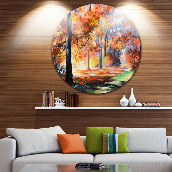 Design Art Fall Trail in Forest Landscape Metal Circle Wall Art