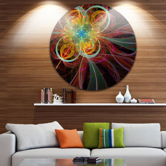 Design Art Colorful Red Fractal Flower Abstract Round Circle Metal Wall Decor