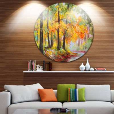 Design Art Colorful Autumn Forest Landscape MetalCircle Wall Art