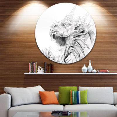 Design Art Dragon Tattoo Sketch Large ContemporaryCircle Metal Wall Arts