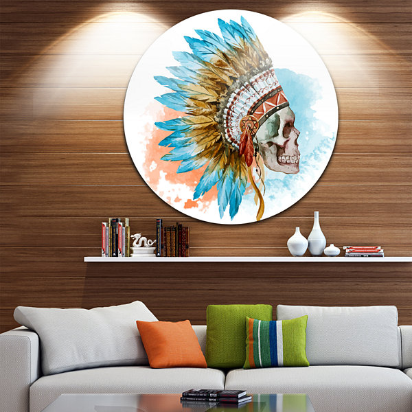 Design Art Ethnic Skull Disc Abstract Circle MetalWall Art