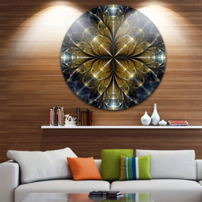Design Art Digital Gold Fractal Flower Pattern Abstract Round Circle Metal Wall Decor Panel