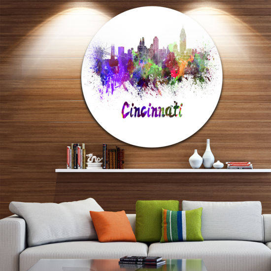 Design Art Cincinnati Skyline Disc Large CityscapeMetal Artwork Print