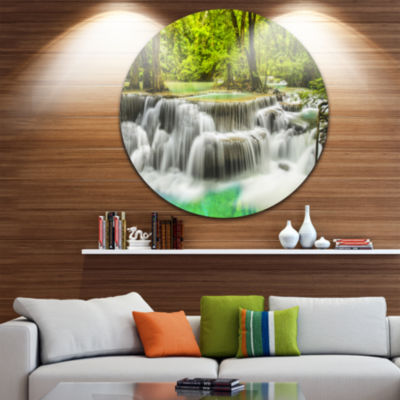 Design Art Erawan Waterfall View Disc PhotographyCircle Metal Wall Art