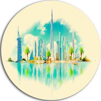Design Art Dubai Panoramic View Disc Cityscape Watercolor Circle Metal Wall Art