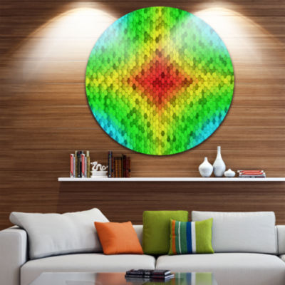 Design Art Colorful Elevated Hexagon Columns Abstract Art on Round Circle Metal Wall Decor Panel