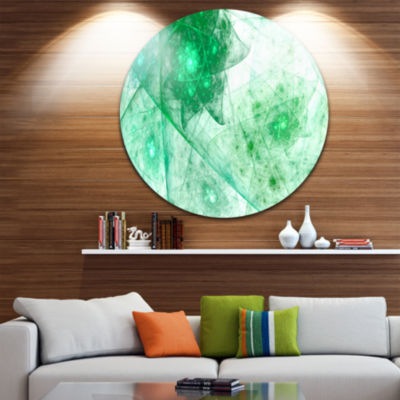 Design Art Clear Green Rotating Polyhedron Abstract Round Circle Metal Wall Decor
