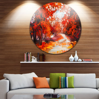 Design Art Forest in the Fall Landscape Metal Circle Wall Art