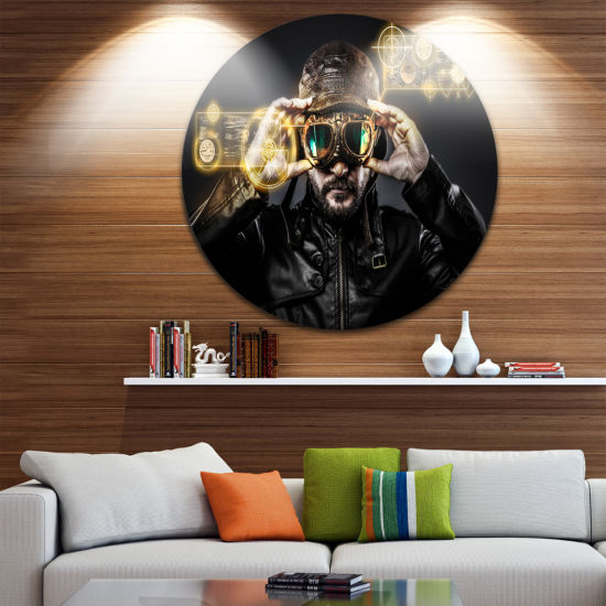 Design Art Fighter Pilot with Hat and Glasses Abstract Portrait Circle Metal Wall Art