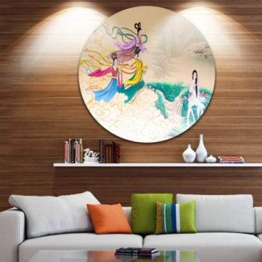 Design Art Classical Chinese Painting Disc Abstract Circle Metal Wall Art