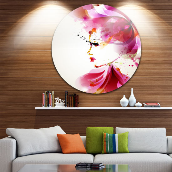Design Art Fashion Woman with Abstract Hair Disc Abstract Circle Metal Wall Art