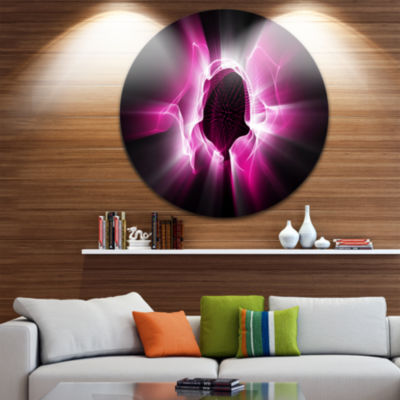 Design Art Fractal Purple Light Shine Disc Abstract Circle Metal Wall Art