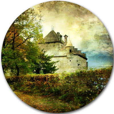 Design Art Chillion Castle Disc Landscape Circle Metal Wall Art