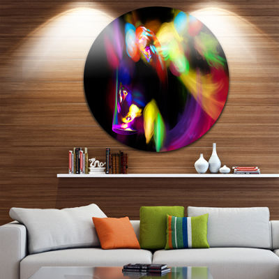 Design Art Colorful Smoke Spiral Abstract Circle Metal Wall Art