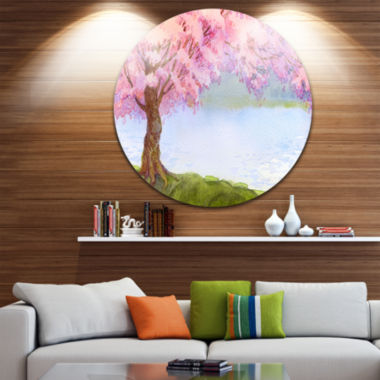 Design Art Flowering Pink Tree by Lake Disc FloralCircle Metal Wall Art