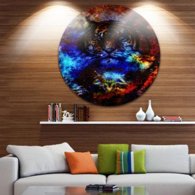 Design Art Colorful Tiger Collage Animal Circle Metal Wall Art