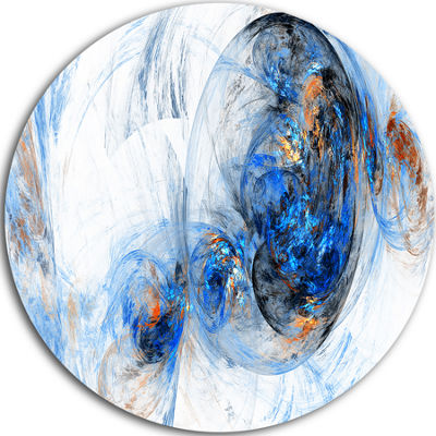 Design Art Colored Smoke Dark Blue Abstract CircleMetal Wall Art