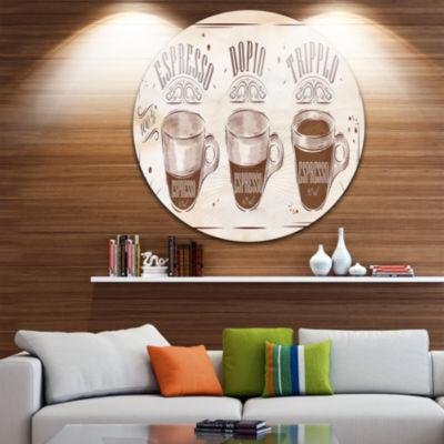 Design Art Espresso Kraf Brown Disc Circle Metal Wall Art