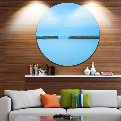 Design Art Concrete Pier and Stairs Seascape Circle Metal Wall Art