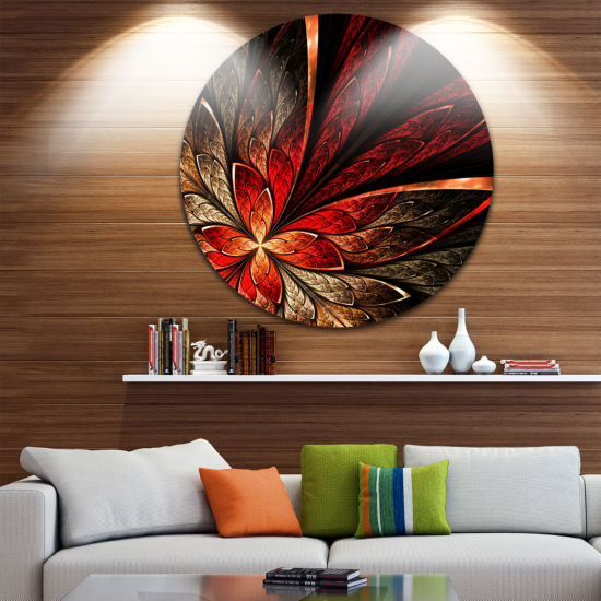 Design Art Fractal Flower in Yellow and Red Disc Floral Circle Metal Wall Art