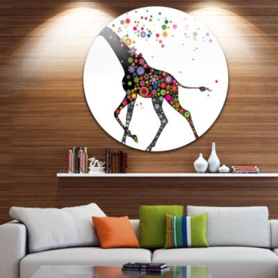 Design Art Cheerful Giraffe Running Disc Animal Circle Metal Wall Art