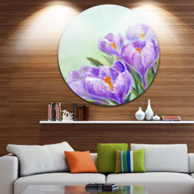 Design Art Crocuses Looking into Sky Floral CircleMetal Wall Art