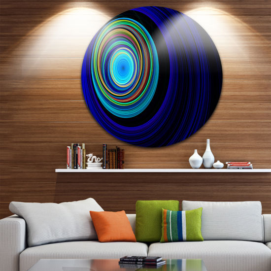 Design Art Endless Tunnel Blue Ripples Disc Abstract Circle Metal Wall Art