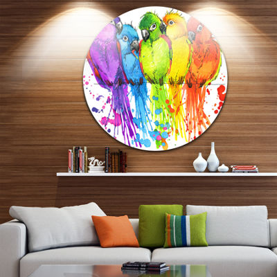 Design Art Colorful Parrots Illustration Animal Metal Circle Wall Art