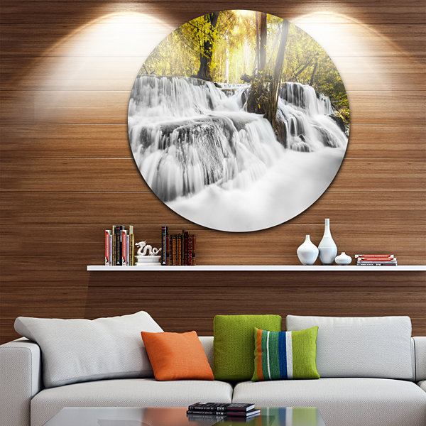 Design Art Colorful Erawan Waterfall Disc Landscape Photography Circle Metal Wall Art