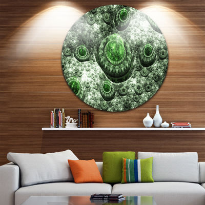 Design Art Exotic Green Fractal Landscape AbstractRound Circle Metal Wall Decor Panel