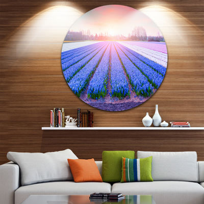Design Art Field of Blooming Hyacinth Flowers DiscAbstract Metal Artwork